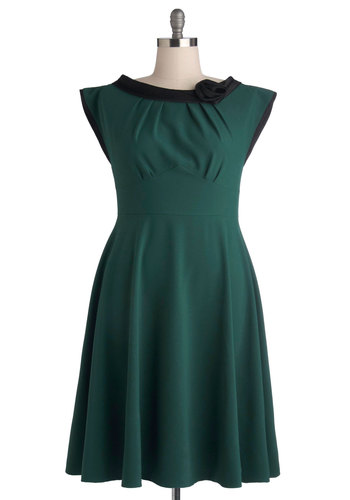 Classical Beauty Dress in Plus Size by Stop Staring! - Woven, Long, Green, Black, Flower, Party, A-line, Cap Sleeves, Best, Vintage Inspired, 40s, 50s
