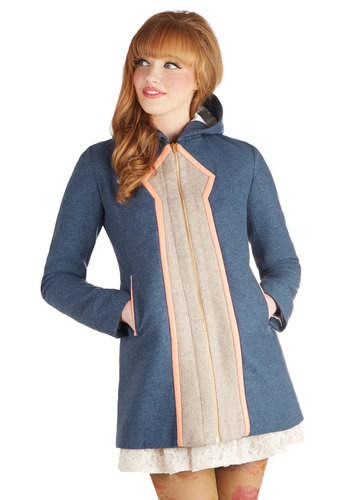 Lauren Moffatt Mod Marvel Coat in Azure by Lauren Moffatt - Exposed zipper, Pockets, Long Sleeve, Leather, Long, 3.5, Blue, Tan / Cream, Vintage Inspired, 60s, Mod, Variation