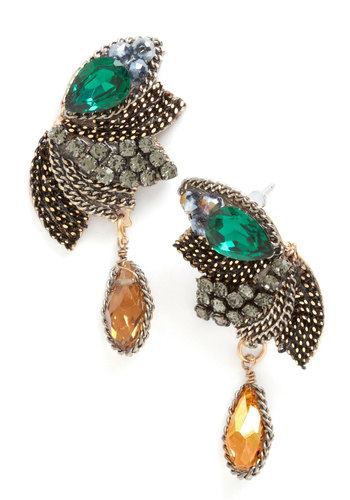 Heyday of Deco Earrings in Opal - Green, Tan, Silver, Solid, Vintage Inspired, 30s, 40s, Luxe, Best, 20s, Gold, Variation