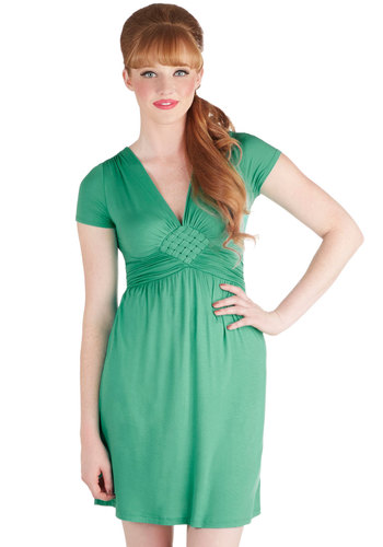Glam of Green Gables Dress - Green, Solid, Casual, Minimal, Empire, Short Sleeves, V Neck, Good, Braided, Work, Basic, Gifts Sale, Mid-length