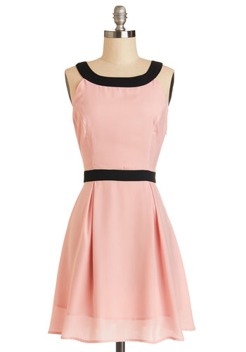 Timeless Trends Dress by Jack by BB Dakota - Woven, Mid-length, Pink, Black, Party, A-line, Sleeveless, Gifts Sale, Bows, Trim, Valentine's, Pastel