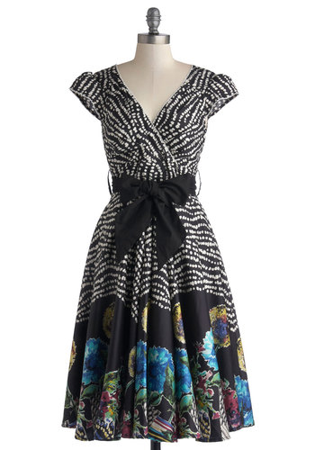Have the Dance Floor Dress in Floral - Print, Cap Sleeves, Better, V Neck, Party, Floral, Cotton, Woven, Belted, Multi, Blue, Black, White, Top Rated, Full-Size Run, Long, Fit & Flare