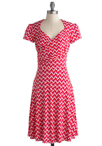 Kelly's Vivid in the Moment Dress in Chevron by Leota - Pink, Print, Casual, A-line, Short Sleeves, Better, Knit, Red, White, Variation, Work, Valentine's, Mid-length