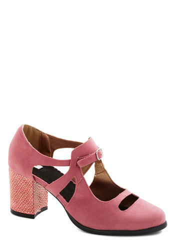 Fair Thee Well Heel by Kling - Pink, Coral, Animal Print, Cutout, Mid, Better, Chunky heel, Faux Leather