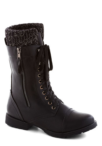 Front Snow Seats Boot - Low, Faux Leather, Black, Solid, Exposed zipper, Military, Winter, Good, Lace Up