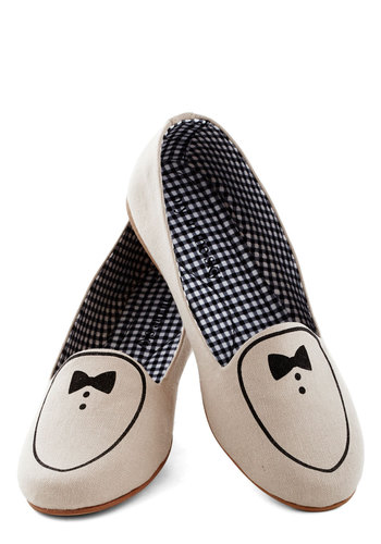 Supper Club Flat - Flat, Woven, Cream, Quirky, Good, Black, Novelty Print, Bows