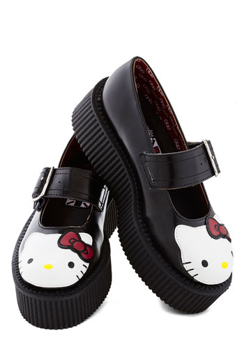 Hello Drumkit Flatform - Mid, Leather, Black, Buckles, Statement, Kawaii, Quirky, Cats, Best, Platform, Mary Jane, White, Print with Animals