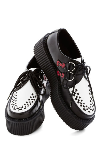 Hello Saturday Flatform - Mid, Faux Leather, Black, Bows, Statement, Kawaii, Good, Platform, Lace Up, White, Rockabilly, Quirky, Cats
