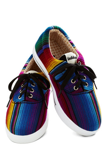 Palettes Dance Sneaker - Low, Woven, Multi, Stripes, Better, Lace Up