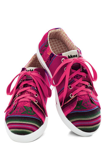 Bright Attitude Sneaker - Low, Woven, Pink, Multi, Stripes, Better, Lace Up, Summer