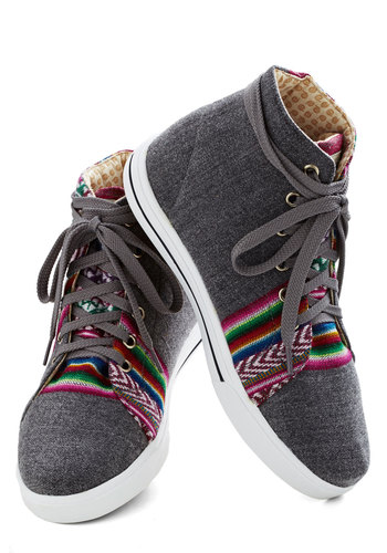 Rainbow Knows Sneaker - Low, Woven, Grey, Multi, Solid, Stripes, Better, Lace Up