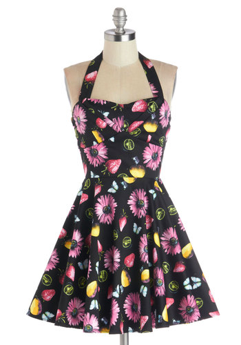 Traveling Cupcake Truck Dress in Floral Fruit - Multi, Yellow, Green, Blue, Pink, Floral, Daytime Party, A-line, Halter, Good, Sweetheart, Cotton, Woven, Black, Fruits, Fit & Flare, Variation, Short, Spring, Top Rated, Sundress