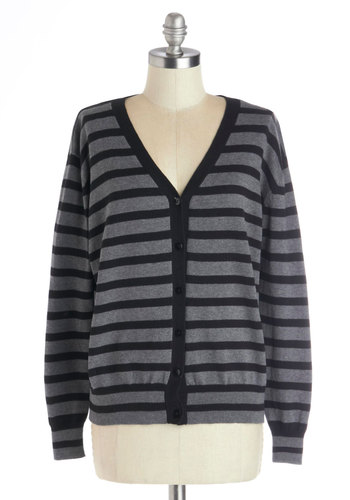 Meeting Moderator Cardigan in Black - Knit, Mid-length, Grey, Black, Stripes, Buttons, Casual, Scholastic/Collegiate, Long Sleeve, Good, Grey, Long Sleeve, Variation