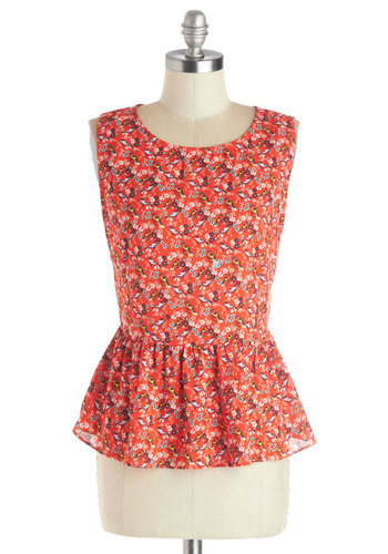 Know a Wing or Two Top - Woven, Red, Multi, Print with Animals, Buttons, Casual, Peplum, Sleeveless, Scoop, Mid-length, Red, Sleeveless, Press Placement, Critters, Bird, Woodland Creature