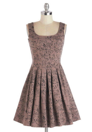 You've Got Skillshare Dress in Cats by Nooworks - Cotton, Woven, Mid-length, Tan, Black, Print with Animals, Pleats, Casual, Fit & Flare, Tank top (2 thick straps), Better, Scoop, Pockets, Quirky, Cats, Variation, Top Rated