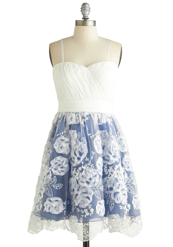 Beautifully Beloved Dress - White, Blue, Embroidery, Flower, Ruching, Daytime Party, Graduation, Fit & Flare, Spaghetti Straps, Better, Sweetheart, Exclusives, Knit, Woven, Short