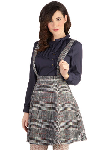 Pun League Skirt - Woven, Long, Grey, Plaid, Scholastic/Collegiate, A-line, Better, Grey