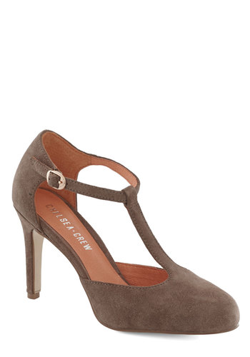Skip, Jump, and Lindy Hop Heel in Taupe by Chelsea Crew - Mid, Leather, Suede, Solid, Better, T-Strap, Tan
