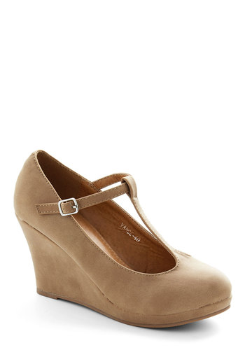 Dashing to Dinner Wedge in Sand - Mid, Faux Leather, Tan, Solid, Party, Work, Daytime Party, Good, Wedge, T-Strap, Variation