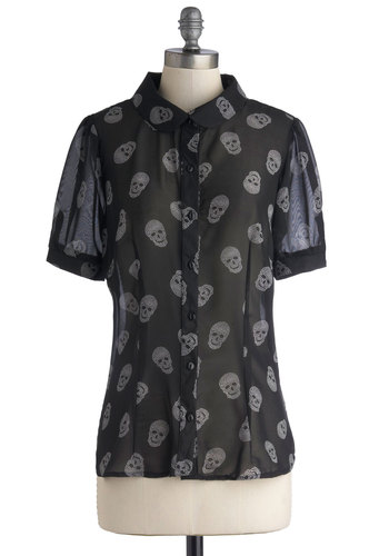 Skull-house Rock Top in Black - Mid-length, Chiffon, Sheer, Woven, Black, Novelty Print, Buttons, Skulls, Short Sleeves, Better, Black, Short Sleeve, Collared