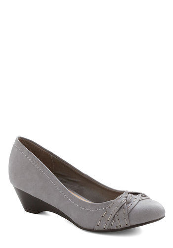 A Stitch in Timeless Wedge - Mid, Faux Leather, Grey, Solid, Work, Good, Wedge