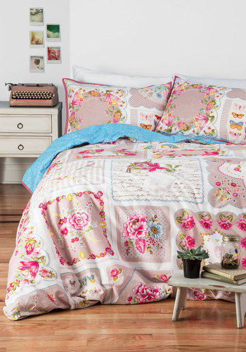 Reverie Single Morning Duvet Cover Set in Full/Queen - Cotton, Woven, Multi, Floral, Vintage Inspired, French / Victorian, Best, Dorm Decor, Fairytale
