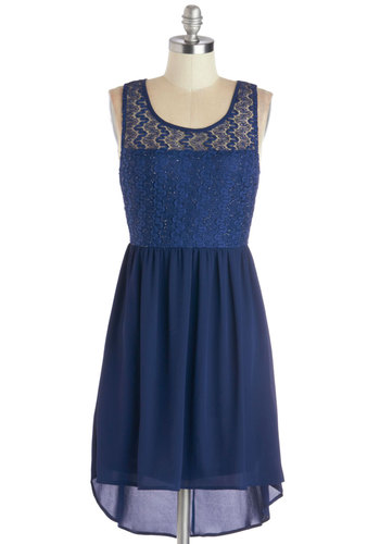 Sure to Shine Dress - Sheer, Knit, Woven, Mid-length, Blue, Solid, Lace, Party, High-Low Hem, Tank top (2 thick straps), Good, Scoop, Lace