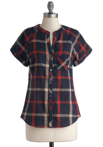 Market Meet Up Top in Navy - Cotton, Woven, Mid-length, Multi, Red, Blue, Plaid, Buttons, Pockets, Casual, Short Sleeves, Multi, Short Sleeve, Button Down, Fall