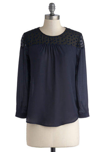 Sprinkle of Sweetness Top - Sheer, Woven, Mid-length, Blue, Black, Work, Long Sleeve, Better, Blue, Long Sleeve, Solid, Valentine's