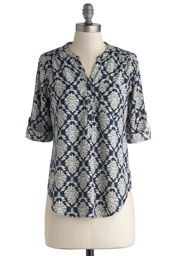 Museum Sketching Top - Woven, Mid-length, Casual, Multi, Tab Sleeve, Blue, White, Print, Novelty Print