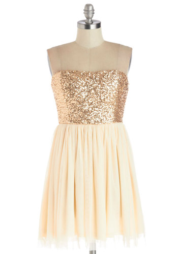 On the Champagne Trail Dress - Cream, Gold, Sequins, Party, Ballerina / Tutu, Strapless, Good, Knit, Short, Holiday Party