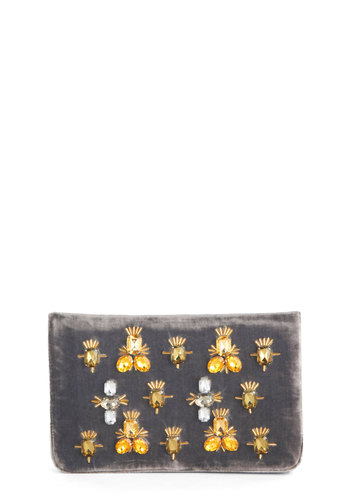 Amber Ambience Clutch - Grey, Rhinestones, Party, Cocktail, Holiday Party, Orange, White, Solid, Luxe, Good