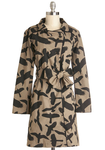 Ready to Flock Coat - Cotton, Woven, 2, Tan, Black, Print with Animals, Buttons, Epaulets, Pockets, Belted, Long Sleeve, Critters, Bird, Woodland Creature, Long