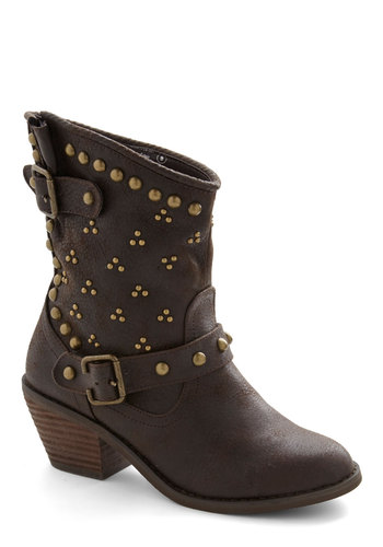 Talent Show Standout Bootie - Mid, Faux Leather, Brown, Solid, Buckles, Studs, Better, Rustic