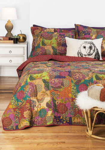 Dream Tree House Quilt Set in King - Cotton, Woven, Multi, Boho, Best, Floral, Wedding