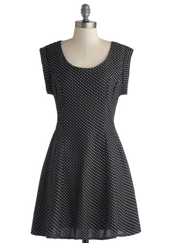 Chelsea Market Dress by Mink Pink - Black, White, Polka Dots, Casual, A-line, Cap Sleeves, Better, Woven, Short, Scoop, Vintage Inspired, 90s
