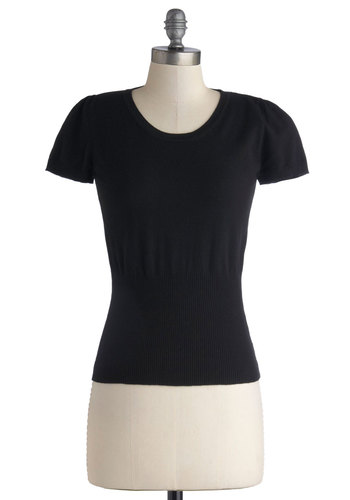 Croissants and Conversation Top by Kling - Knit, Short, Black, Solid, Work, Short Sleeves, Black, Short Sleeve, Better, Basic