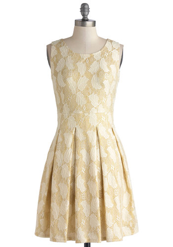 Seasonal Festivities Dress - Gold, Print, Party, A-line, Sleeveless, Better, Scoop, Knit, Mid-length, Tan / Cream, Lace, Pleats, Lace