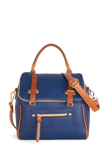 Camera Ready Bag - Blue, Tan / Cream, Solid, Buckles, Better, Faux Leather, Work