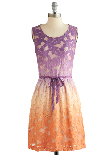 Fade in the Shade Dress - Ombre, Lace, Belted, Daytime Party, A-line, Tank top (2 thick straps), Better, Scoop, Orange, Purple