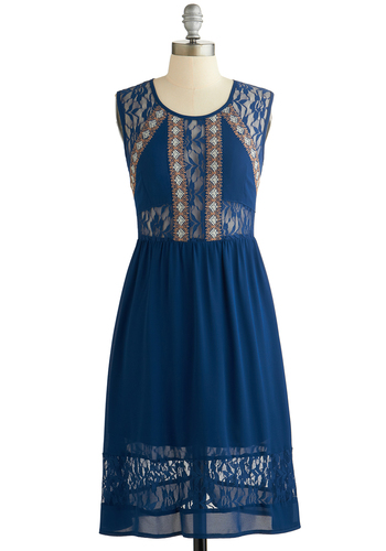 Influential Folk Dress - Blue, Embroidery, Lace, A-line, Sleeveless, Better, Scoop, Sheer, Mid-length, Chiffon, Woven, Casual, Sundress, Festival