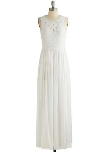 Felicitous Finery Dress - White, Solid, Beads, Cutout, Cocktail, Bride, Maxi, Sleeveless, Better, Scoop, 20s, Wedding, Chiffon, Sheer, Woven, Long