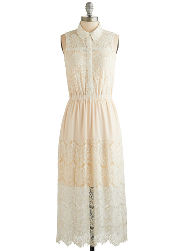 Urban Mist Dress - Cream, Solid, Buttons, Lace, Casual, Boho, Maxi, Sleeveless, Better, Collared, Sheer, Knit, Woven, Festival, Long, Summer