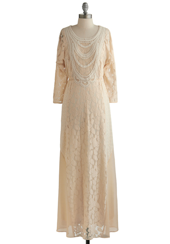 Amaranthine Entrance Dress - Cream, Crochet, Lace, Wedding, Daytime Party, Bride, Maxi, Long Sleeve, Better, Scoop, Vintage Inspired, Sheer, Knit, Long, 20s, Lace