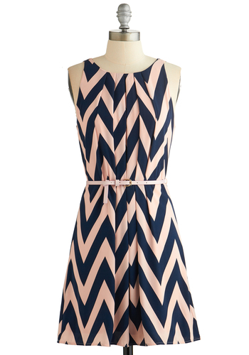 Great Wavelengths Dress in Navy - Blue, Pink, Chevron, Belted, Casual, A-line, Sleeveless, Good, Scoop, Daytime Party, Variation, Woven, Mid-length, Spring