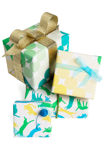 Presents Day Wrapping Paper Set - Holiday, Yellow, Green, Blue, White, Print with Animals, Eco-Friendly, Cats, Exclusives