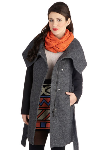 Quantum Leaps and Bounds Coat - Long, Faux Leather, 2, Grey, Solid, Pockets, Belted, Long Sleeve, Fall, Winter, Grey