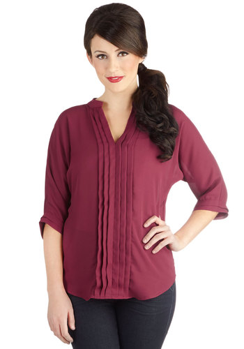 Recipe for Romance Top - Woven, Mid-length, Chiffon, Red, Solid, Pleats, Work, 3/4 Sleeve, Better, V Neck, Red, 3/4 Sleeve