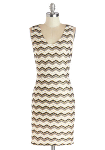 Shimmering in Chevrons Dress - Chevron, Cutout, Party, Shift, Sleeveless, Better, V Neck, Knit, Short, Multi, Black, Grey, White, Gold, Girls Night Out, Bodycon / Bandage