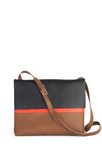 Stroll Down the Colorblock Bag - Black, Solid, Colorblocking, Better, Faux Leather, Multi, Red, Brown, Work